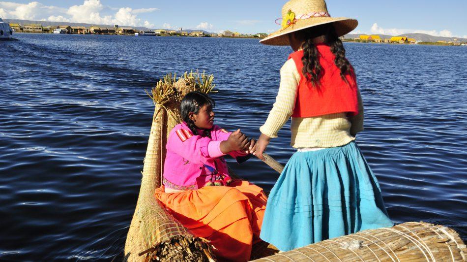 Traditional boat on Lake Titicaca, Peru