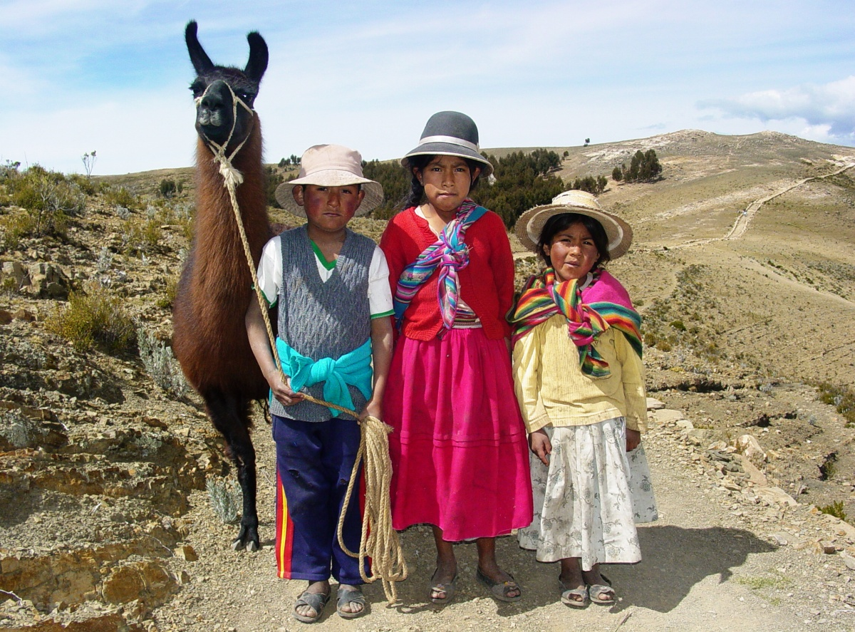 Indigenous Children with Llama on Isla del Sol